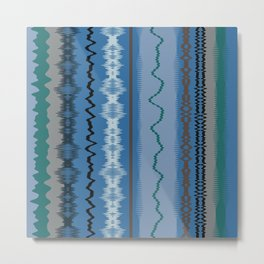 Assorted Waves And Lines In Blue Green Metal Print