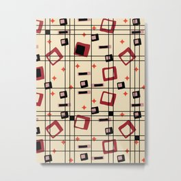 Mid Century Modern Cream 1950s Atomic Abstract Pattern Metal Print