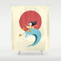 ponyo Shower Curtains featuring The Wave by Freeminds