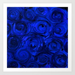 China Blue Rose Abstract Art Print