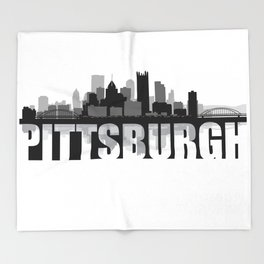 Pittsburgh Silhouette Skyline Throw Blanket