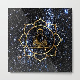 Gold funky Space Buddha Metal Print