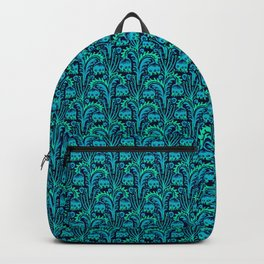Bluebell Woods, Blue & Turquoise Woodcut Style inspired by William Morris Botanical Pattern Backpack
