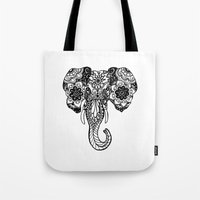 henna Tote Bags featuring Henna Elephant by Kaitlyn Koehn