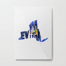 New York Typographic Flag Map Art Metal Print