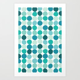 Midcentury Modern Dots Blue Kunstdrucke