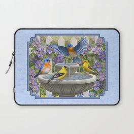Bird Fountain Flower Garden Gathering Laptop Sleeve