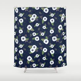 Anemone Floral Pattern Navy Blue Shower Curtain