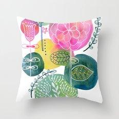 Blooming Circles Throw Pillow