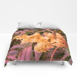 Pale Yellow and Green Sideways Sumac Comforters
