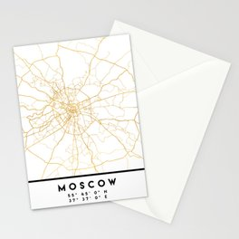 MOSCOW RUSSIA CITY STREET MAP ART Stationery Cards