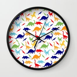 Colorful Dinosaurs Pattern Wall Clock