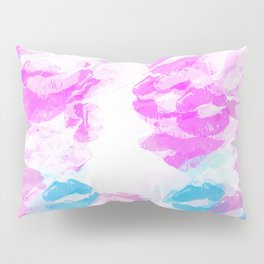 kisses lipstick pattern abstract background in pink and blue Pillow Sham