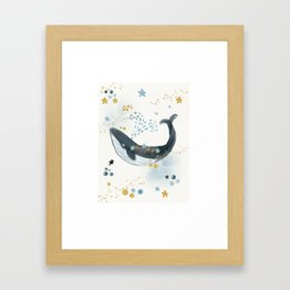 Whale, Stars, Blue Whale, Big Whale, Ocean, Beauty, Save The Whale, Happy Whale, Adventure Framed Art Print