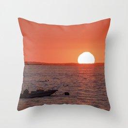 Plum Cove Beach Sunset 7-11-18 Throw Pillow