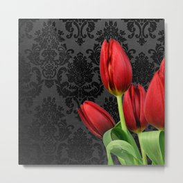 Red Tulip Flowers Black Vintage Damask Metal Print