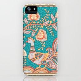 Bird and a flower branch. Indian style. Kalamkari. iPhone Case