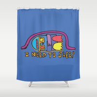 sleep Shower Curtains featuring sleep by PINT GRAPHICS