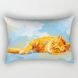Cat Dream - orange tabby cat painting Rectangular Pillow