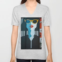 Girl with sunglasses Unisex V-Neck