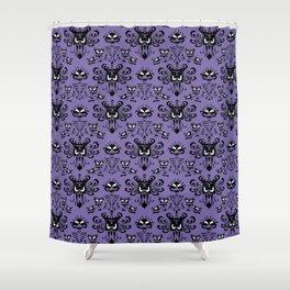 Purple Haunted Mansion Wallpaper Shower Curtain