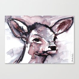Fawn, Watercolor Canvas Print