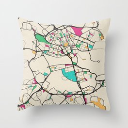 Colorful City Maps: Stockholm, Sweden Throw Pillow
