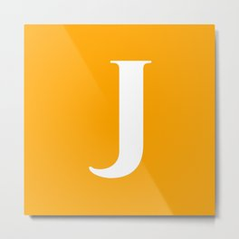 J MONOGRAM (WHITE & ORANGE) Metal Print