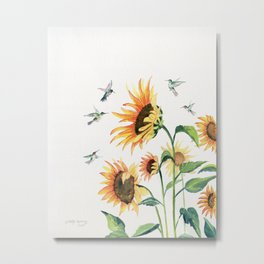 Sunflowers and Hummingbirds Metal Print