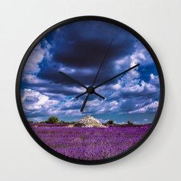 "Beautiful purple landscape with clouds in ""La Provençe, France""! Wall Clock"