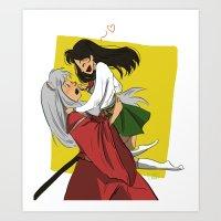 inuyasha Art Prints featuring Inuyasha and Kagome by Lara Pickle