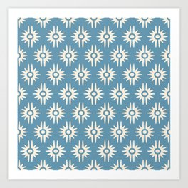 Mid Century Modern Bang Pattern 271 Blue and Beige Art Print