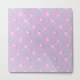 Abstract pink garden pattern in clear background Metal Print