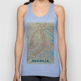 Brasilia Map Retro Unisex Tank Top