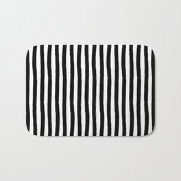 Black and White Cabana Stripes Palm Beach Preppy Bath Mat