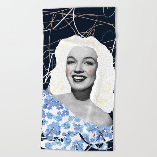 Marilyn in blue Beach Towel