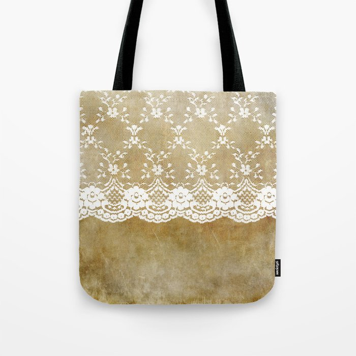 The elegant lady- White luxury foral lace on grunge backround Tote Bag