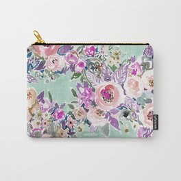 Mint SO LUSCIOUS Painterly Floral Carry-All Pouch