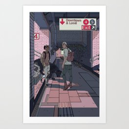 Subway Station Meetup Art Print