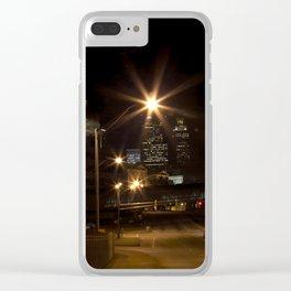 Atlanta street scene at night Clear iPhone Case