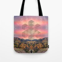 moon phases Tote Bags featuring Phases by Rachel Thornton
