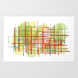 Abstract Lines Shapes Green and Yellow Art Print