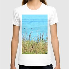 Whale chasing ducks close to shore T-shirt