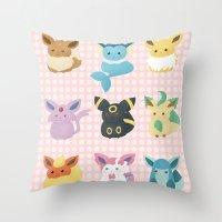 eevee Throw Pillows featuring Eevee Evolutions by Nozubozu