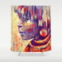 african Shower Curtains featuring African portrait by Marta Zawadzka