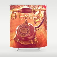 telephone Shower Curtains featuring old telephone by gzm_guvenc