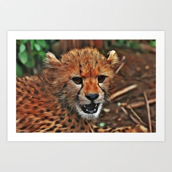 Angry Cheetah Cub Art Print