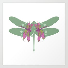 pattern with dragonflies 5 Art Print