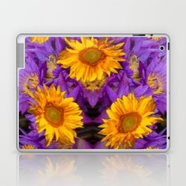 YELLOW SUNFLOWERS AMETHYST FLORALS Laptop & iPad Skin