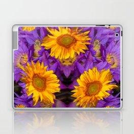 YELLOW SUNFLOWERS AMETHYST FLORALS Laptop & iPad Skin